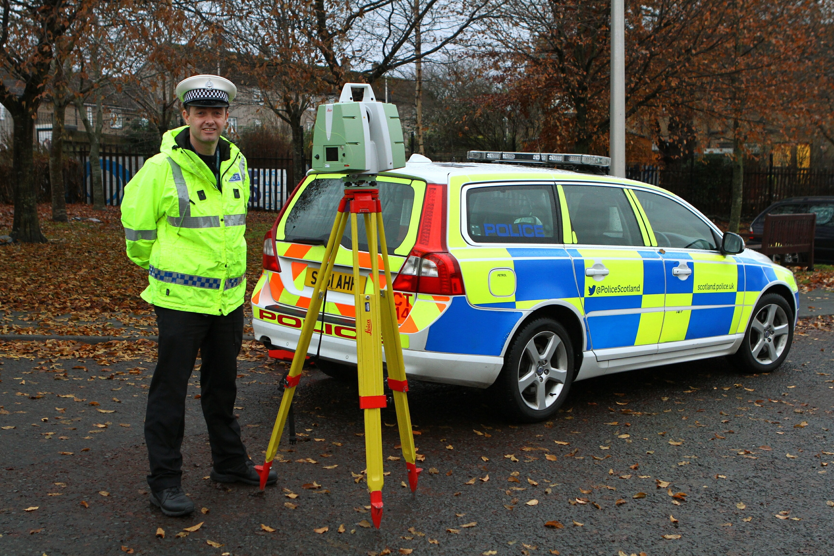 Constable Graeme Wallace with the 3D scanner which is used in the aftermath of collisions.