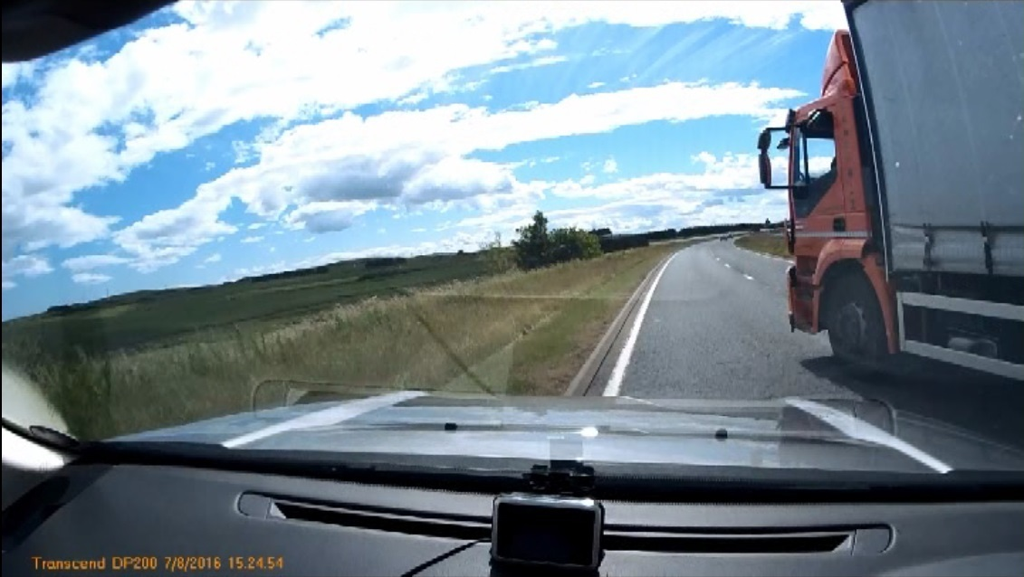 Dashcam footage of the accident