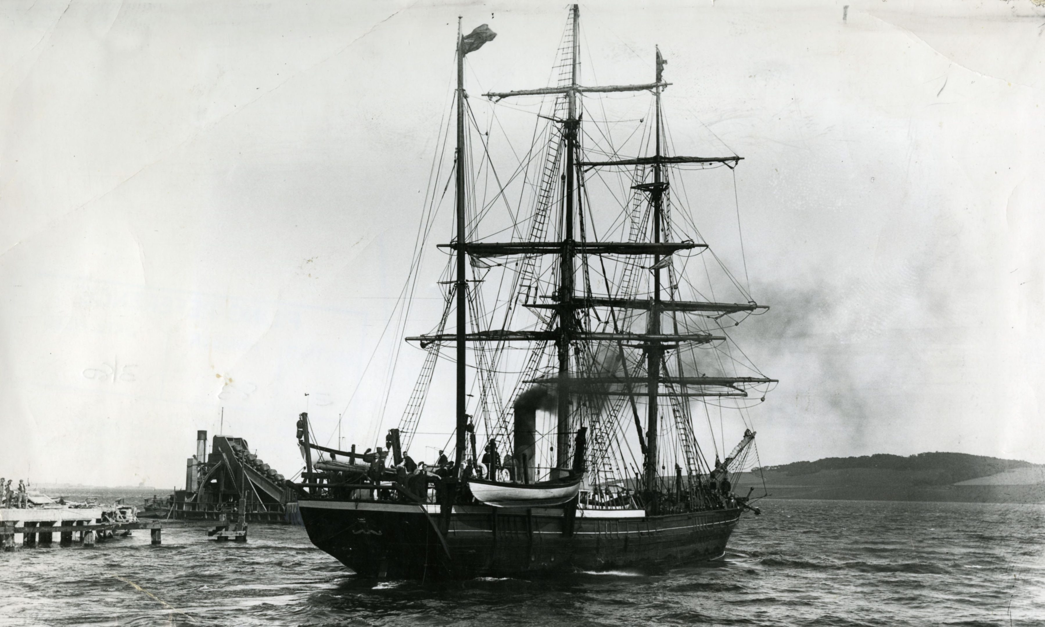 The Scotia whaler leaving Dundee. It came to The Snowdrop crew's rescue.
