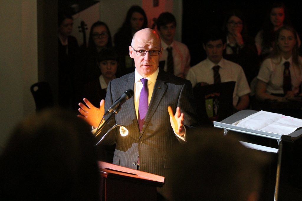 John Swinney speaks at the official opening of Harris Academy in Dundee.