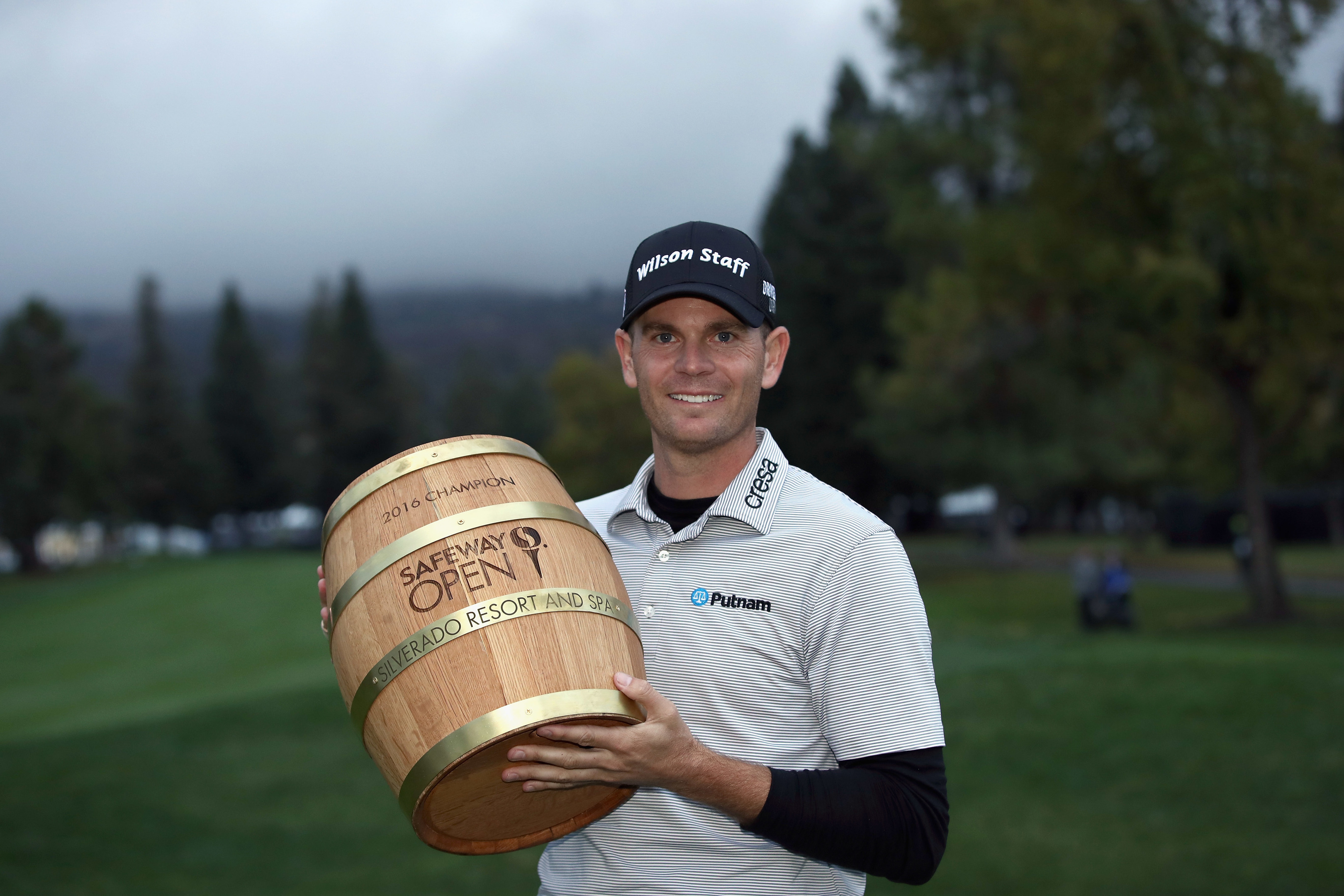 Brendan Steele is still smiling as he gets the Safeway Open Barrel, but it's because he knows that he's going to Augusta, right?