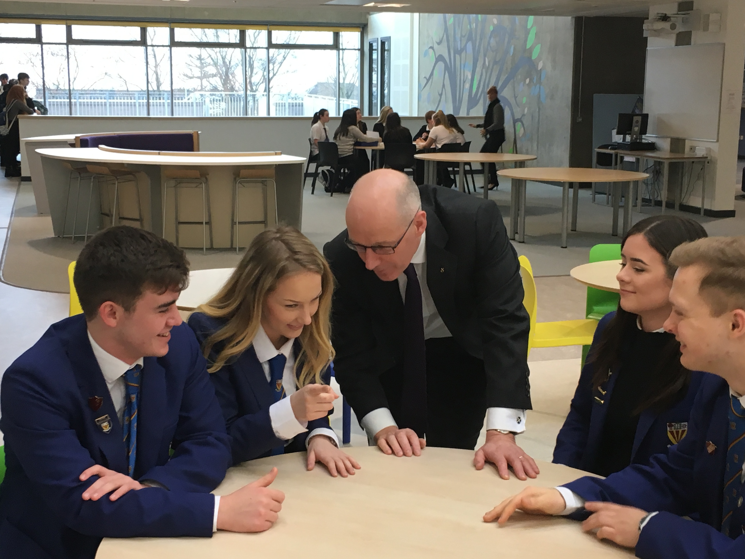 John Swinney in discussion with Brechin High School pupils