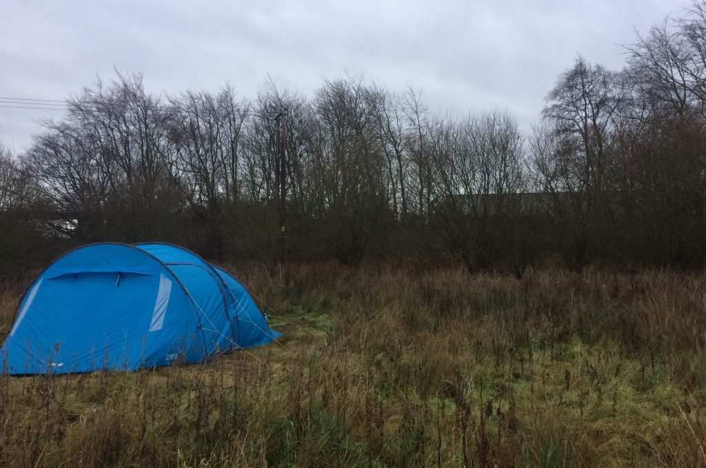 Campers outside Amazon's fulfilment centre in Dunfermline.