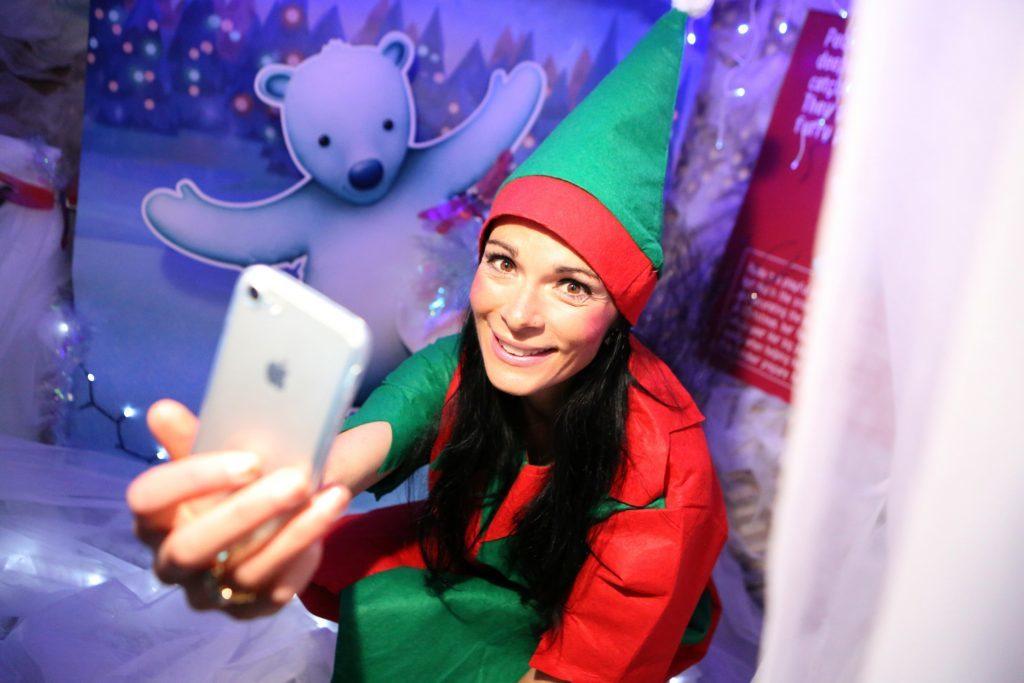 Elfie takes a selfie! Gayle in the selfie corner of the grotto at Dobbies.