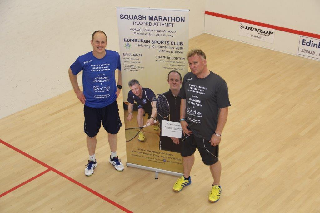 Mark James (right) and Simon Boughton previously completed a world record squash marathon to raise money for Nyumbani