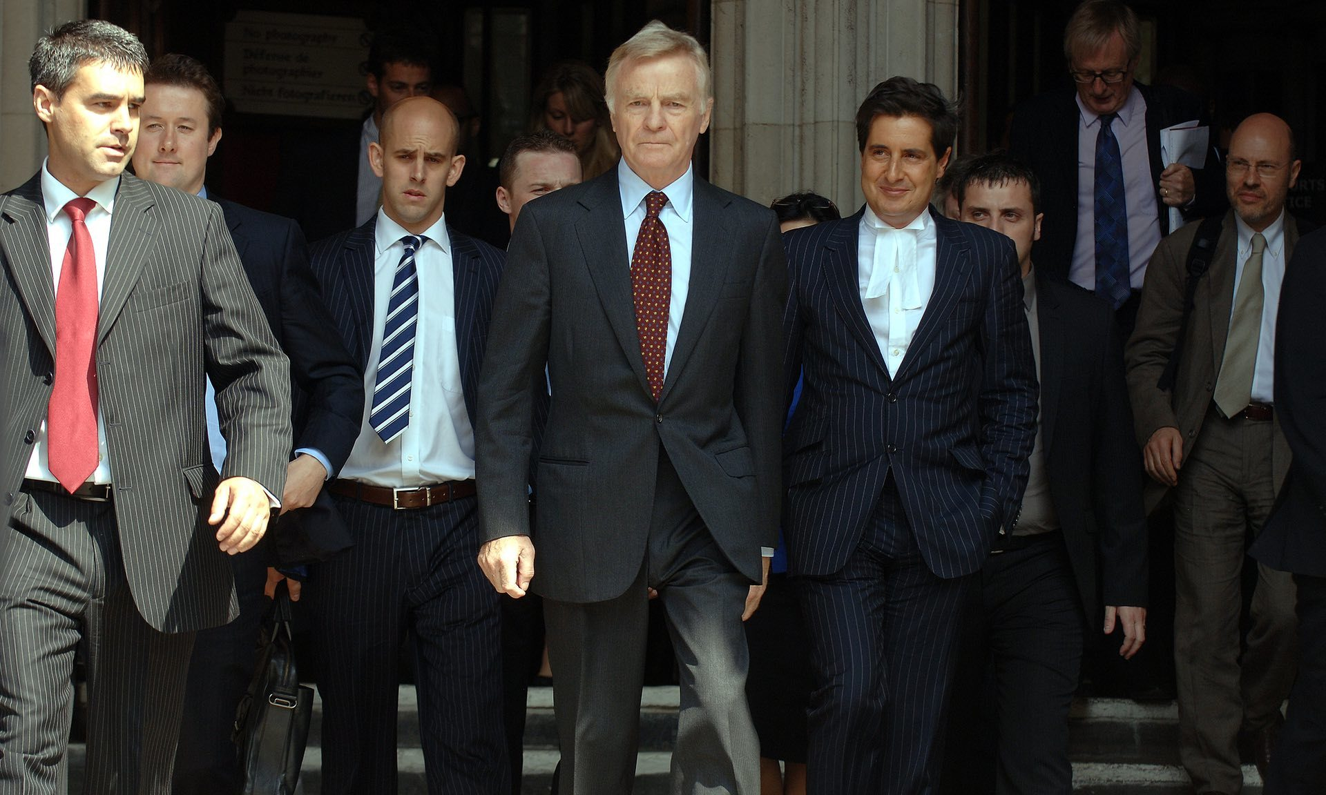 Max Mosley leaves the Royal Courts of Justice after winning a privacy invasion lawsuit against the News of the World in 2008.