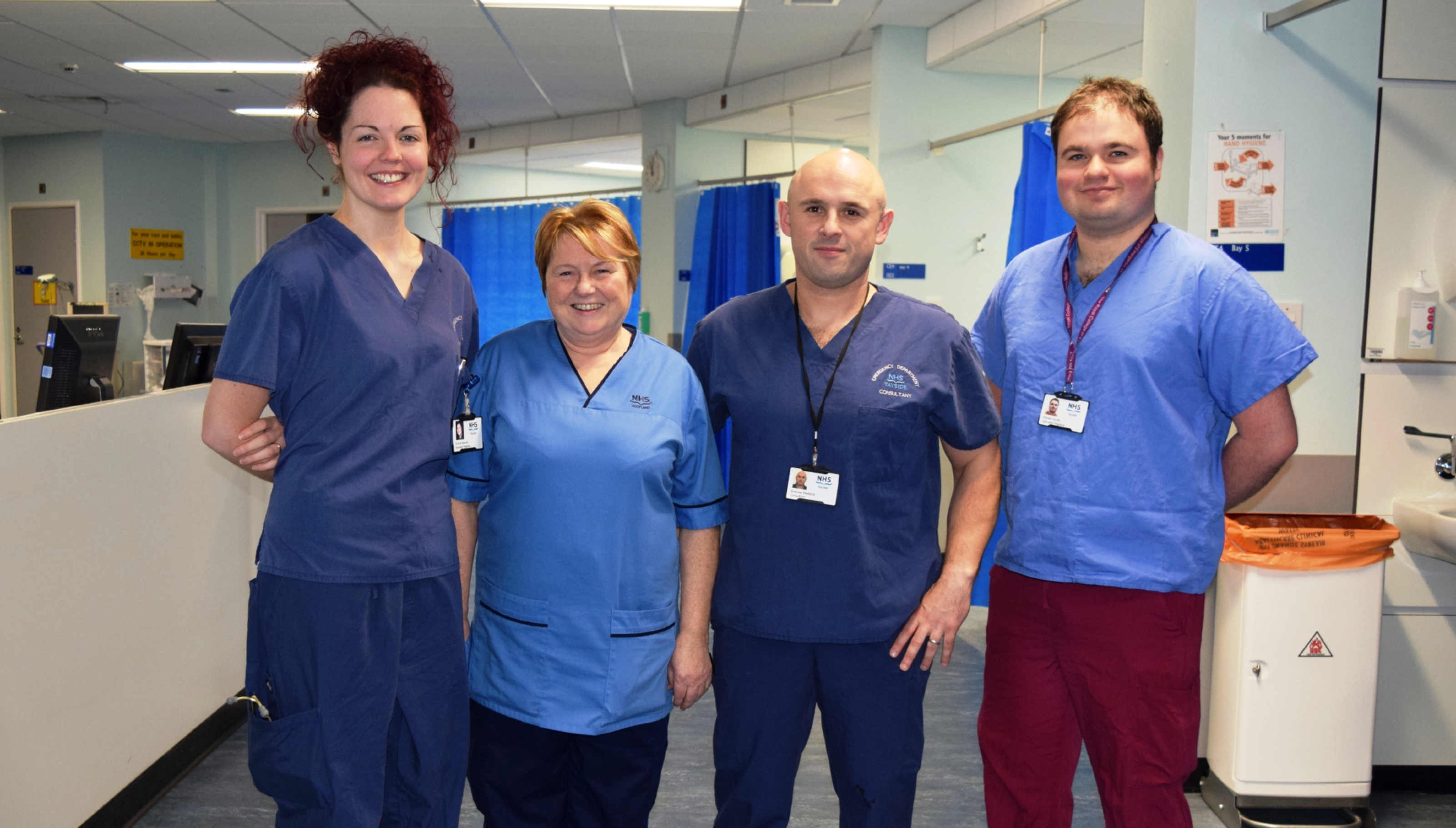 Specialist registrar Dr Emma Kenyon, emergency nurse practitioner Moira MacLeod, emergency consultant Dr Andy Reddick and core trainee Keiran Smith