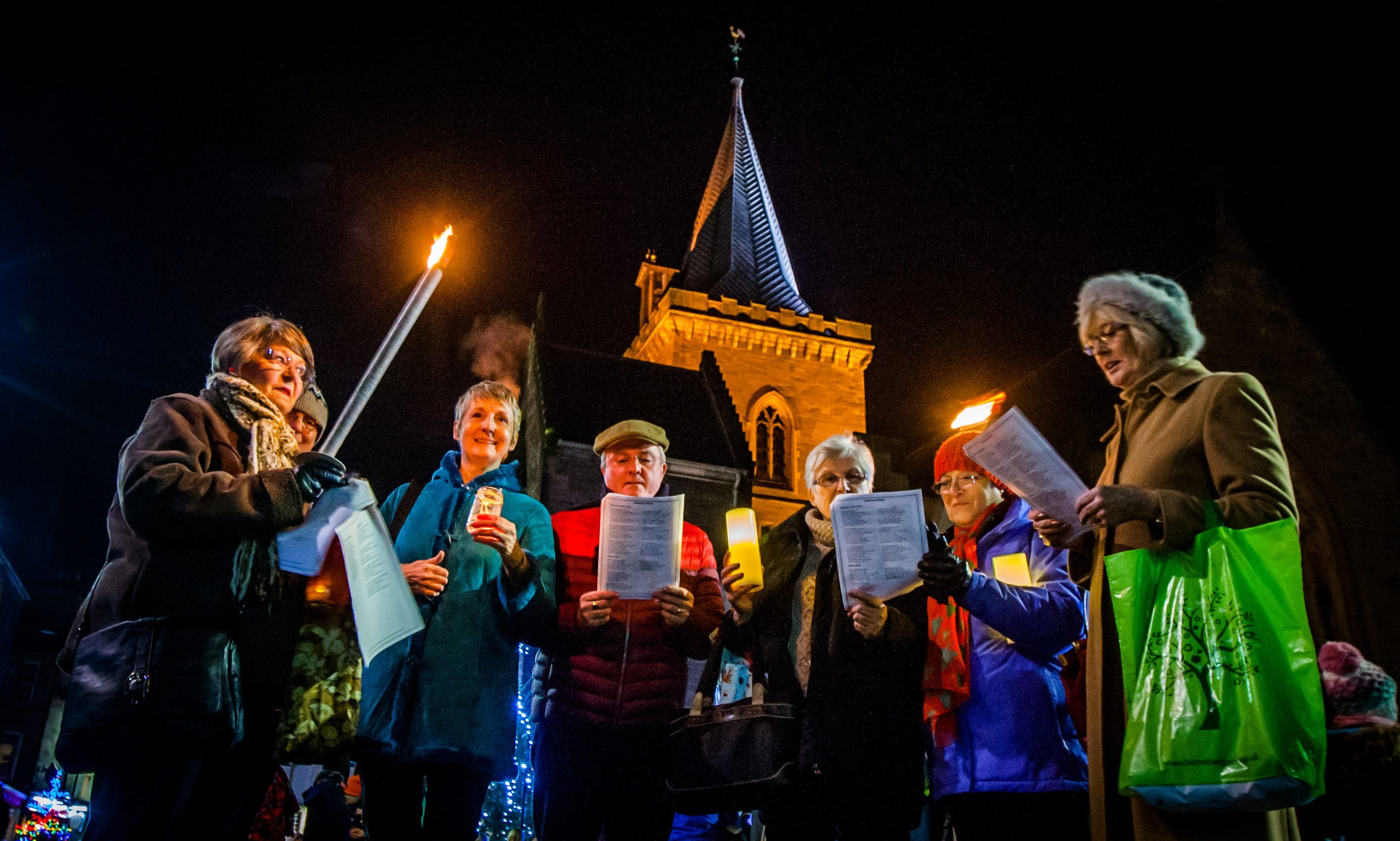 The parade gathered in front of St John's Kirk. St John's Kirk, Kirkside, Perth.