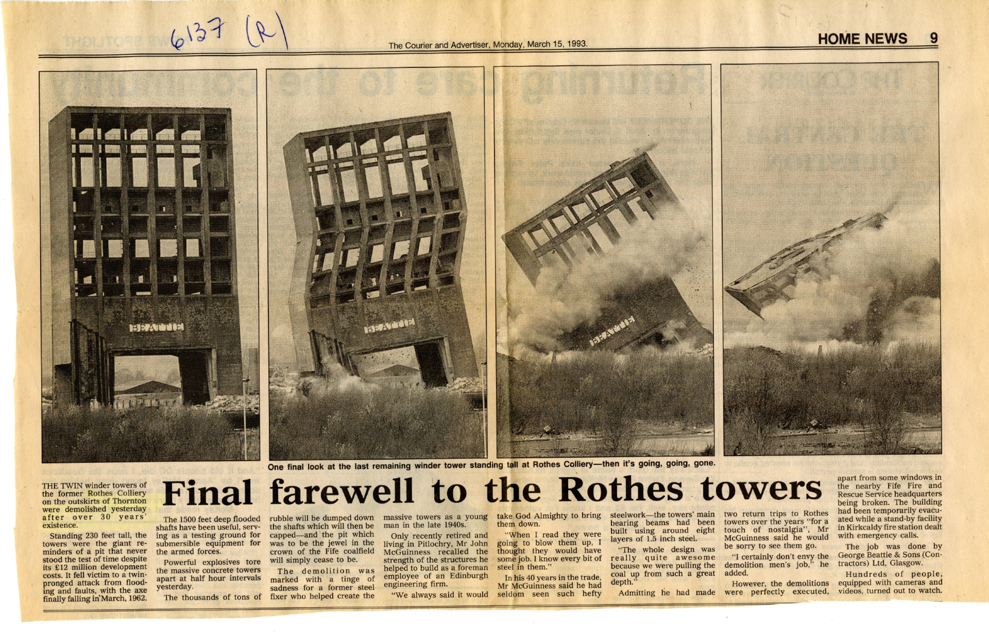 What goes up, must come down. The Courier records the demolition of the pit's towers in March 1993.