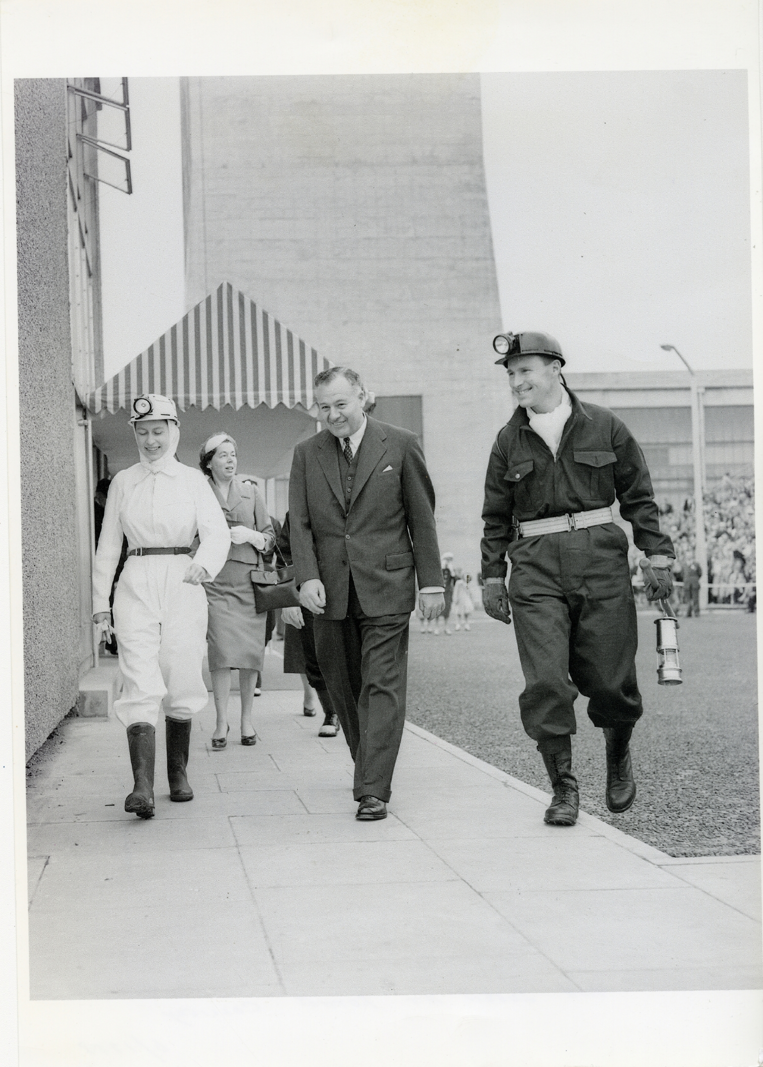 The Queen, in her sparkling white boiler suit, at the official opening of Rothes Colliery in June 20 1958.