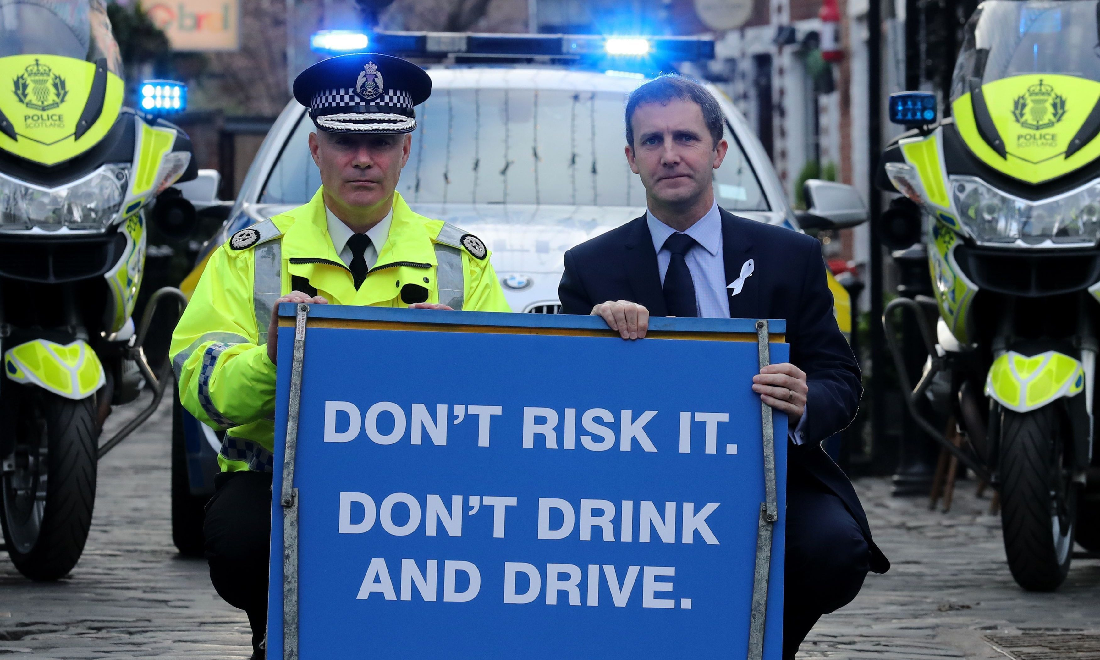 Scottish Justice Secretary Michael Matheson (right) joins Police Scotland Assistant Chief Constable Bernard Higgins as Police Scotland launches their annual festive drink-drive campaign.