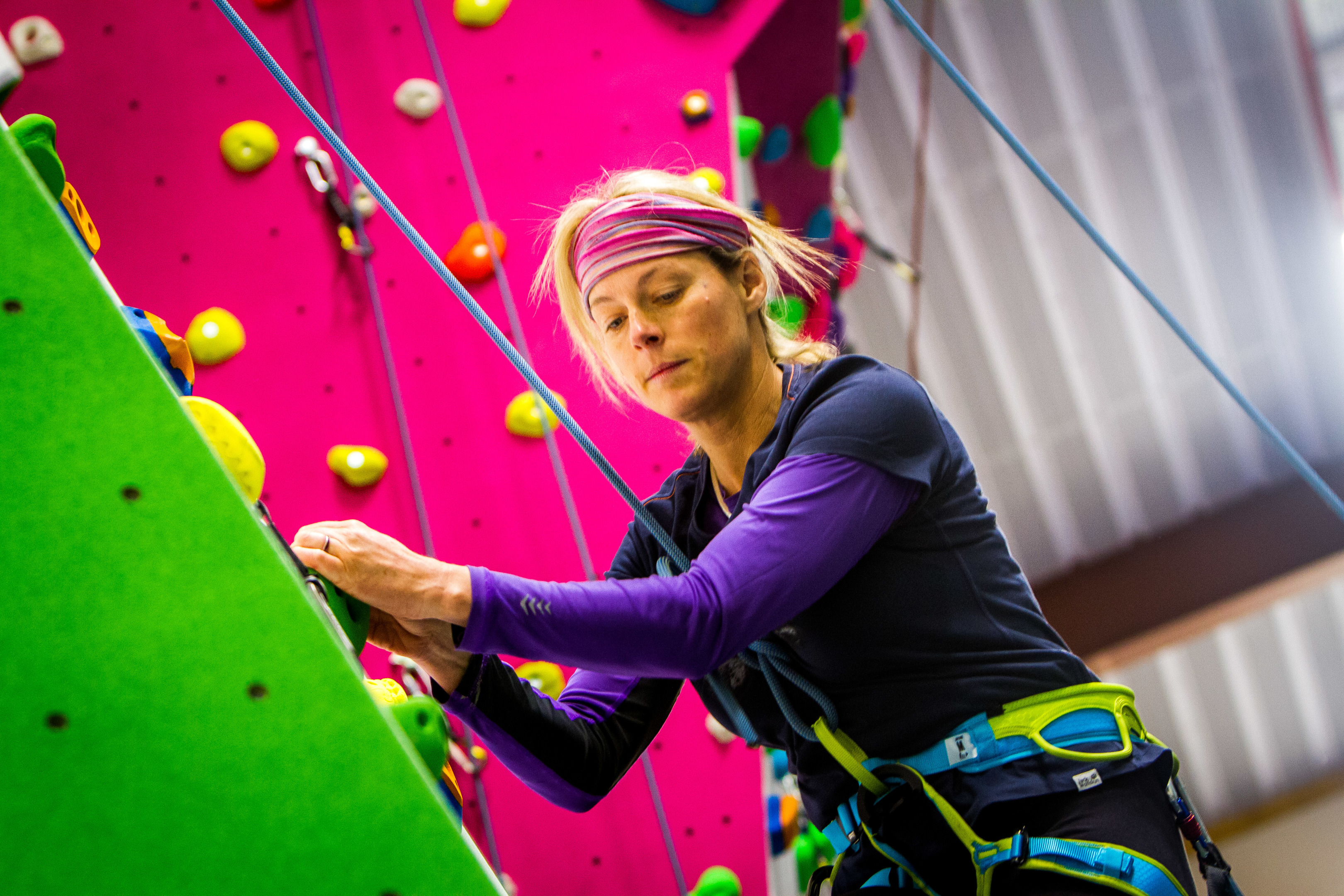 Polly Murray was one of the first to climb the new wall at Perth's Academy of Sport and Wellbeing.