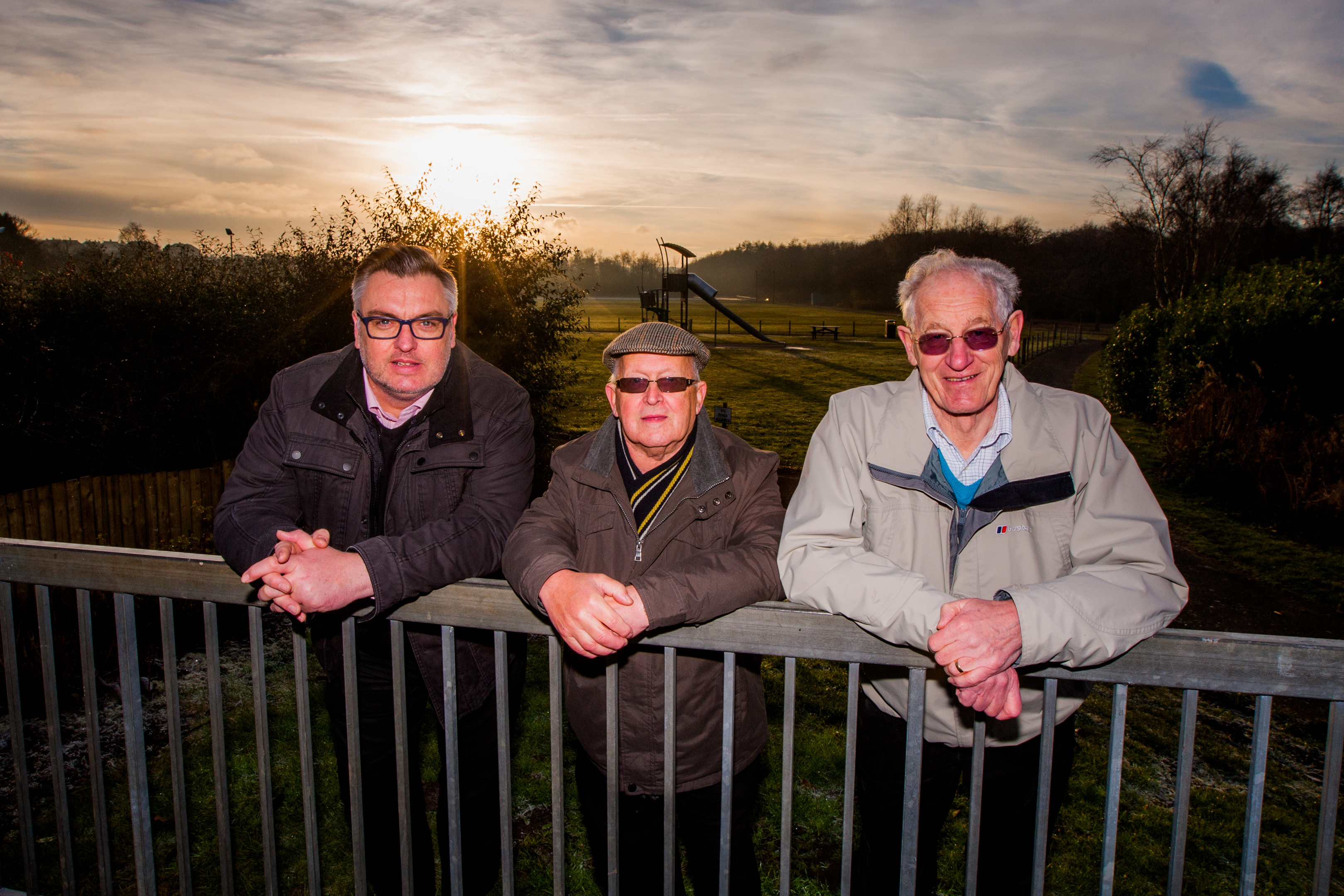 Picture shows (left to right) Councillor Mark Hood alongside Andrew Brown and David Taylor (both Community Council) at the entrance to Wallsgreen Park in Cardenden - the site of one of the proposed projects.