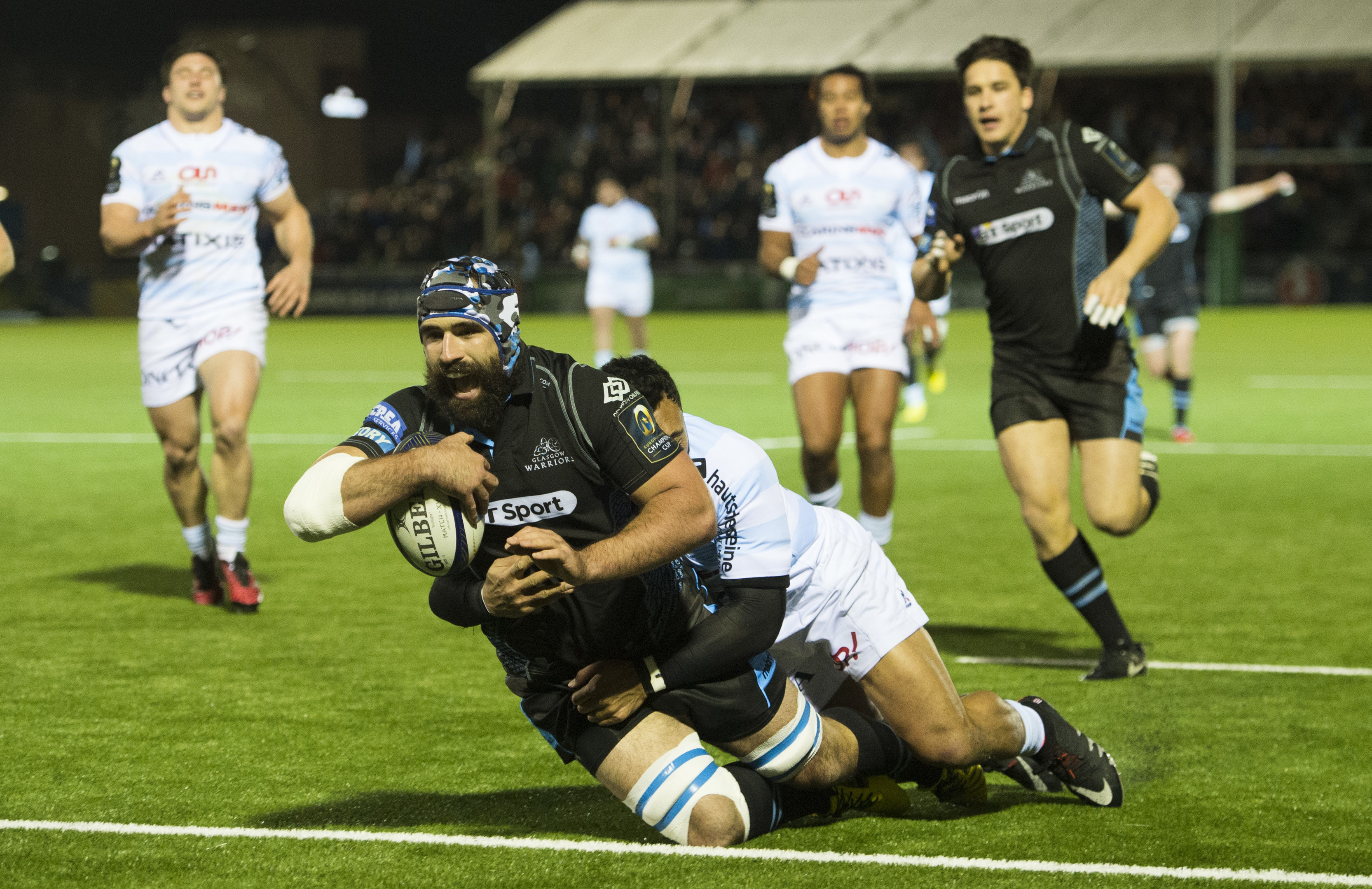 Centurion Josh Strauss scores Glasgow's first try against Racing at Scotstoun.