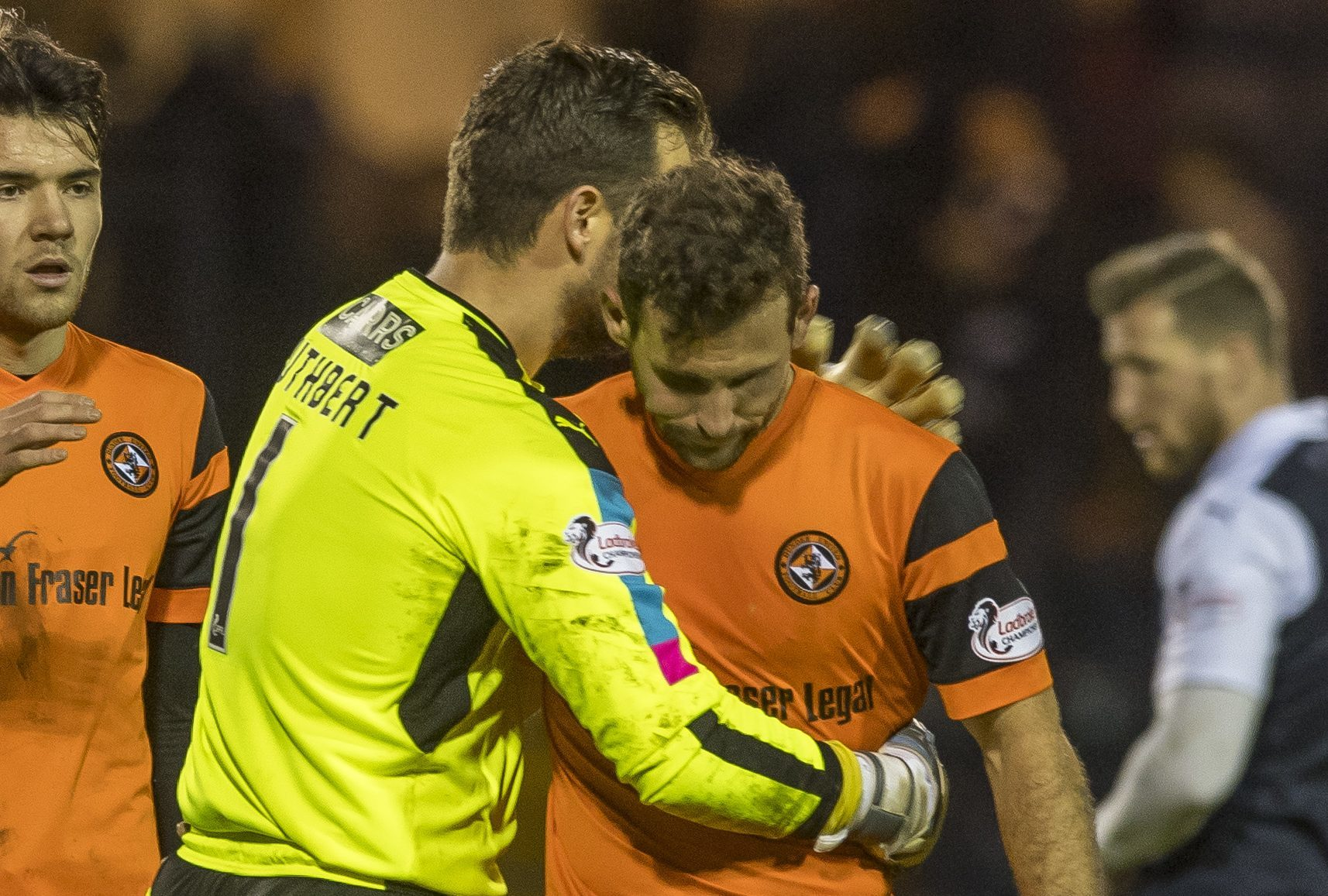 Kevin Cuthbert and Tony Andreu at the end of the game.