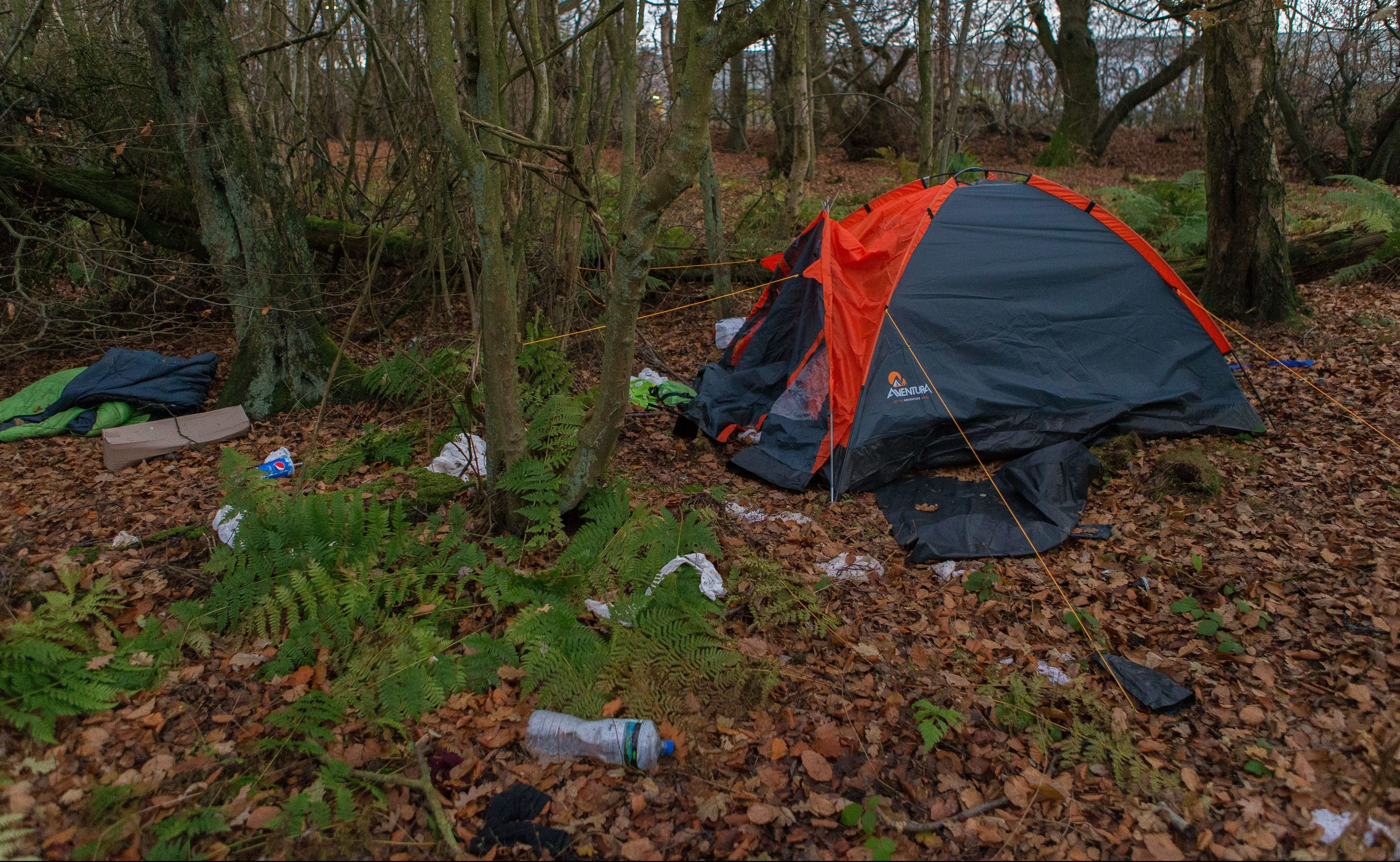 One tent near the Amazon site in Dunfermline. Two others have been seen in recent days.