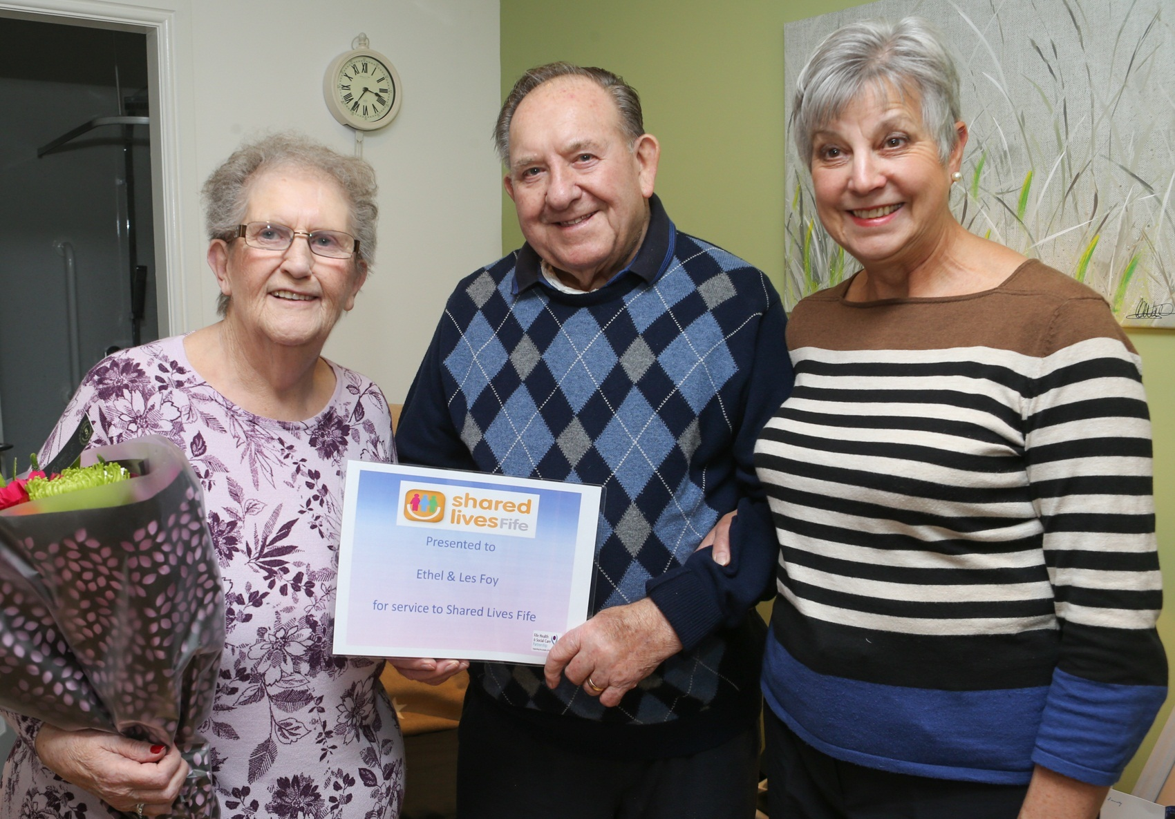 Ethel and Les Foy with former Shared Lives manager Ann Fernie.
