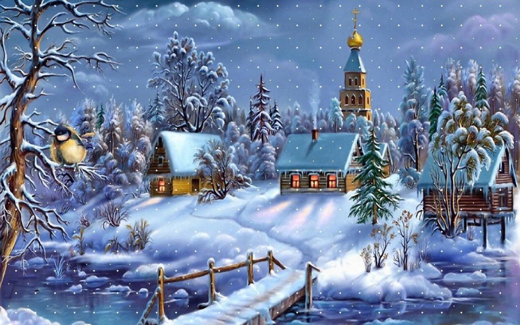 Traditional snow covered Christmas card scene