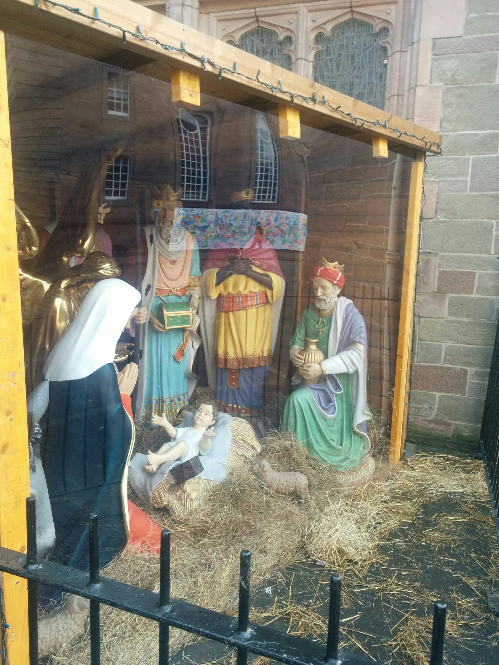 A perspex screen was put up to protect the nativity scene outside St John's Kirk, Perth, last week.