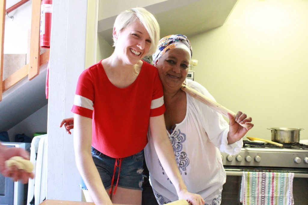 Writer Katie Wright with Faldela Tolker who teaches cookery classes in Cape Town.