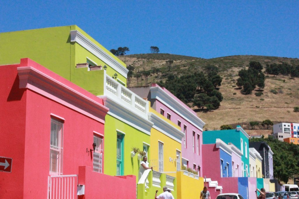 Colourful properties in the Bo-kaap region of Cape Town, South Africa.
