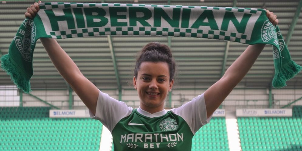 Amy Gallacher celebrates signing for Hibernian Ladies at Easter Road.