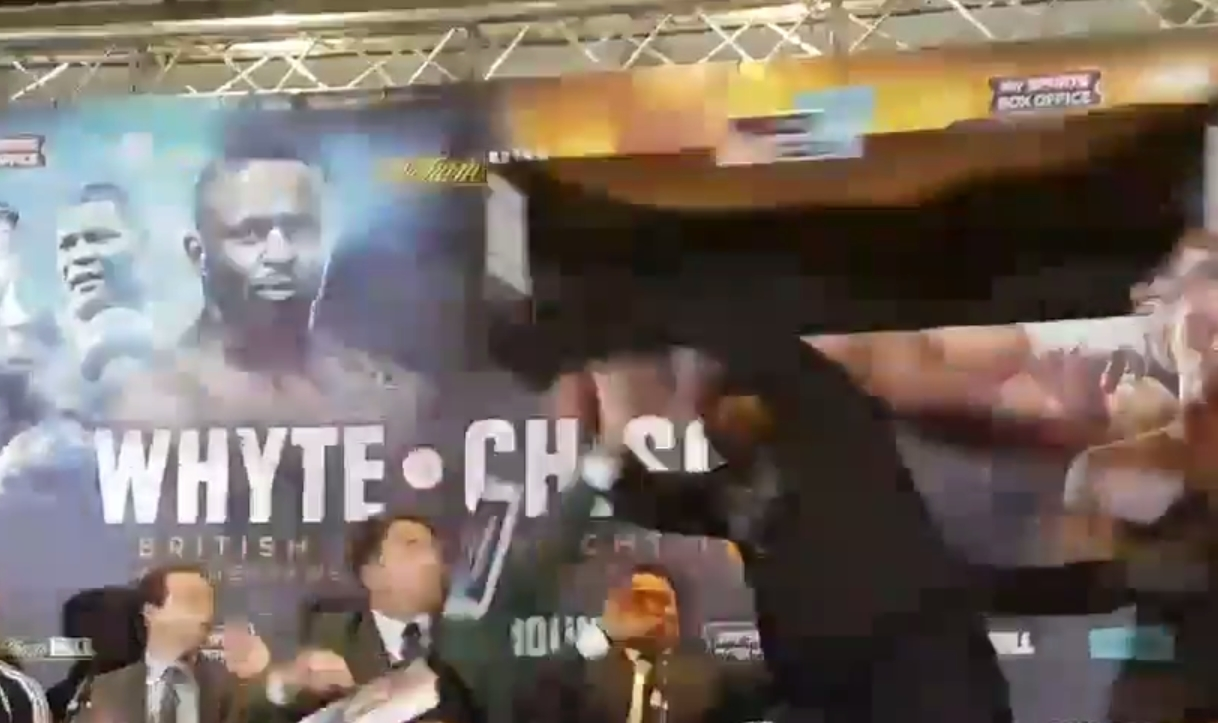 Dereck Chisora literally turns the tables on Dillian Whyte