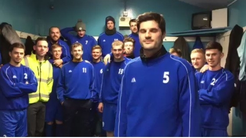 Defender Stuart Malcolm leads the team in a celebration fit for a hat-trick