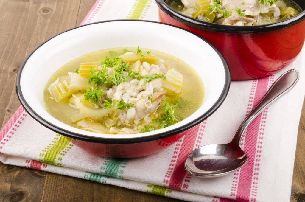 cock a leekie soup with leeks and celery