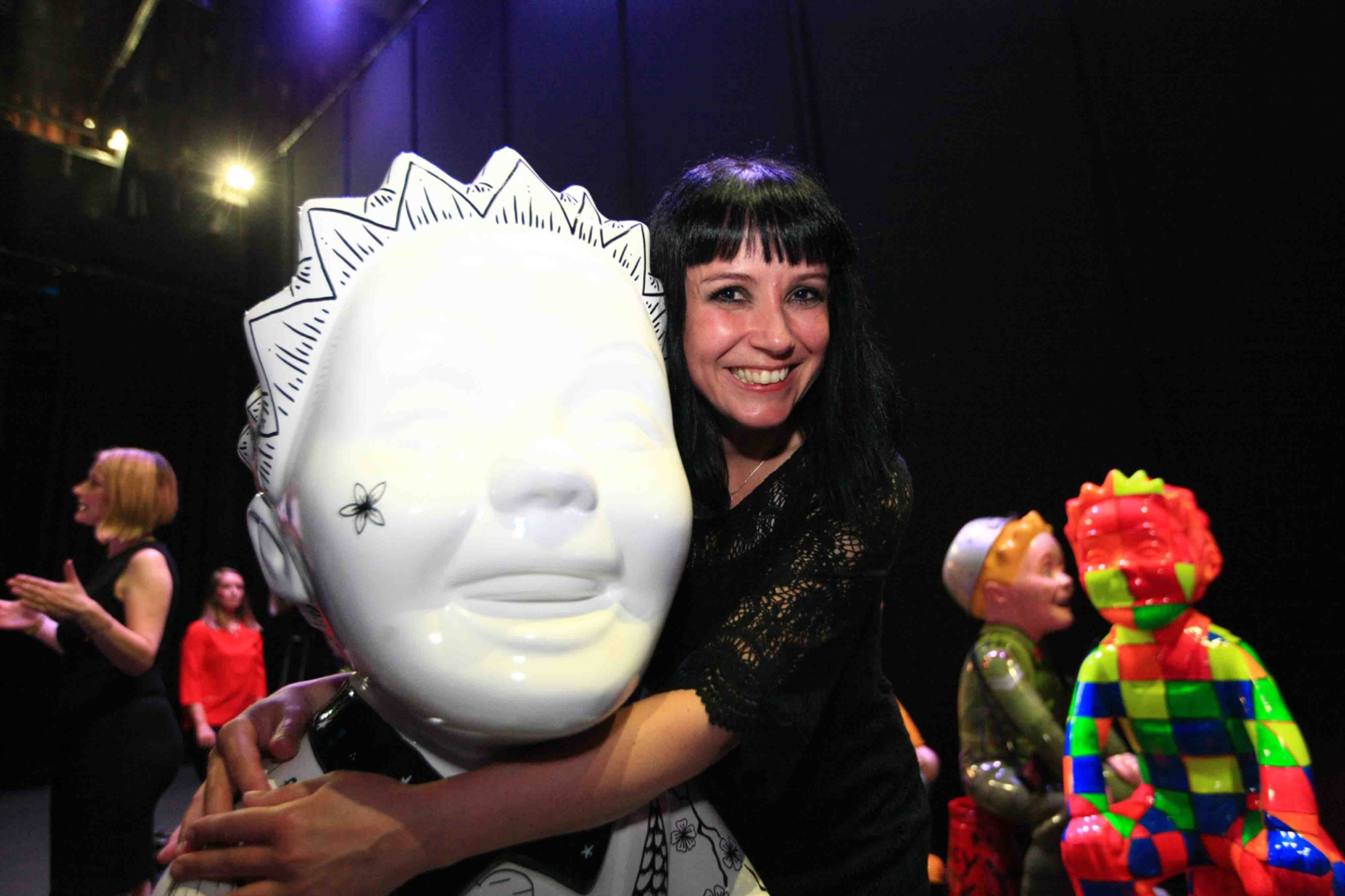 Suzanne Scott of Whimsical Lush with her favourite Wullie statue.
