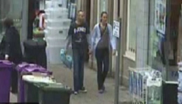 Steven Jackson and Michelle Higgins in Montrose High Street hours after the murder.