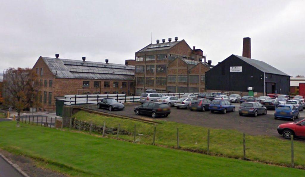 The former factory before demolition began.