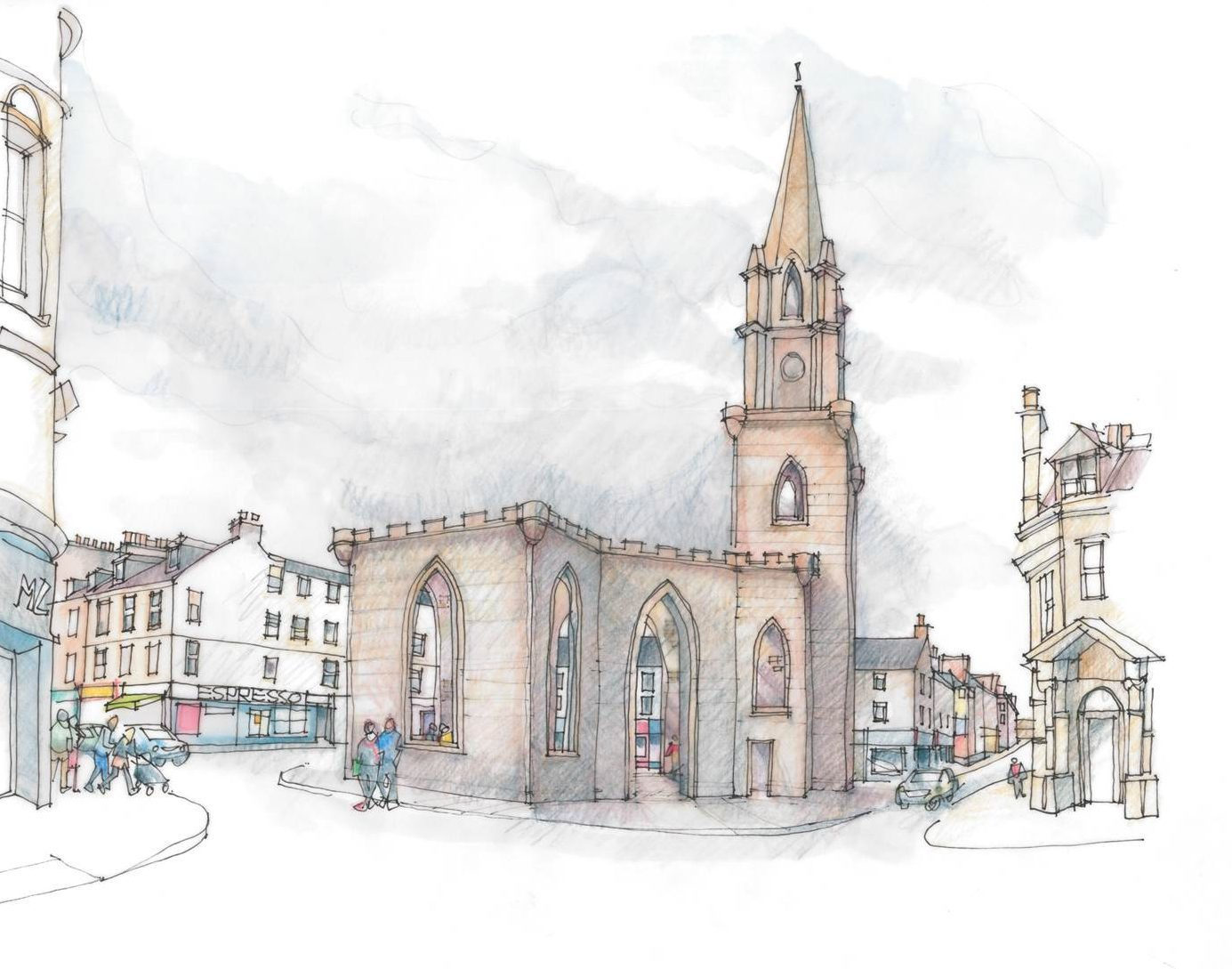 An impression of the public performance space plan for the Perth church.