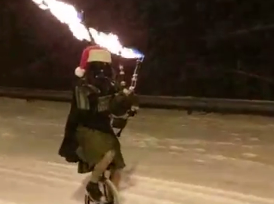 The Unipiper in full flow as Darth Vader