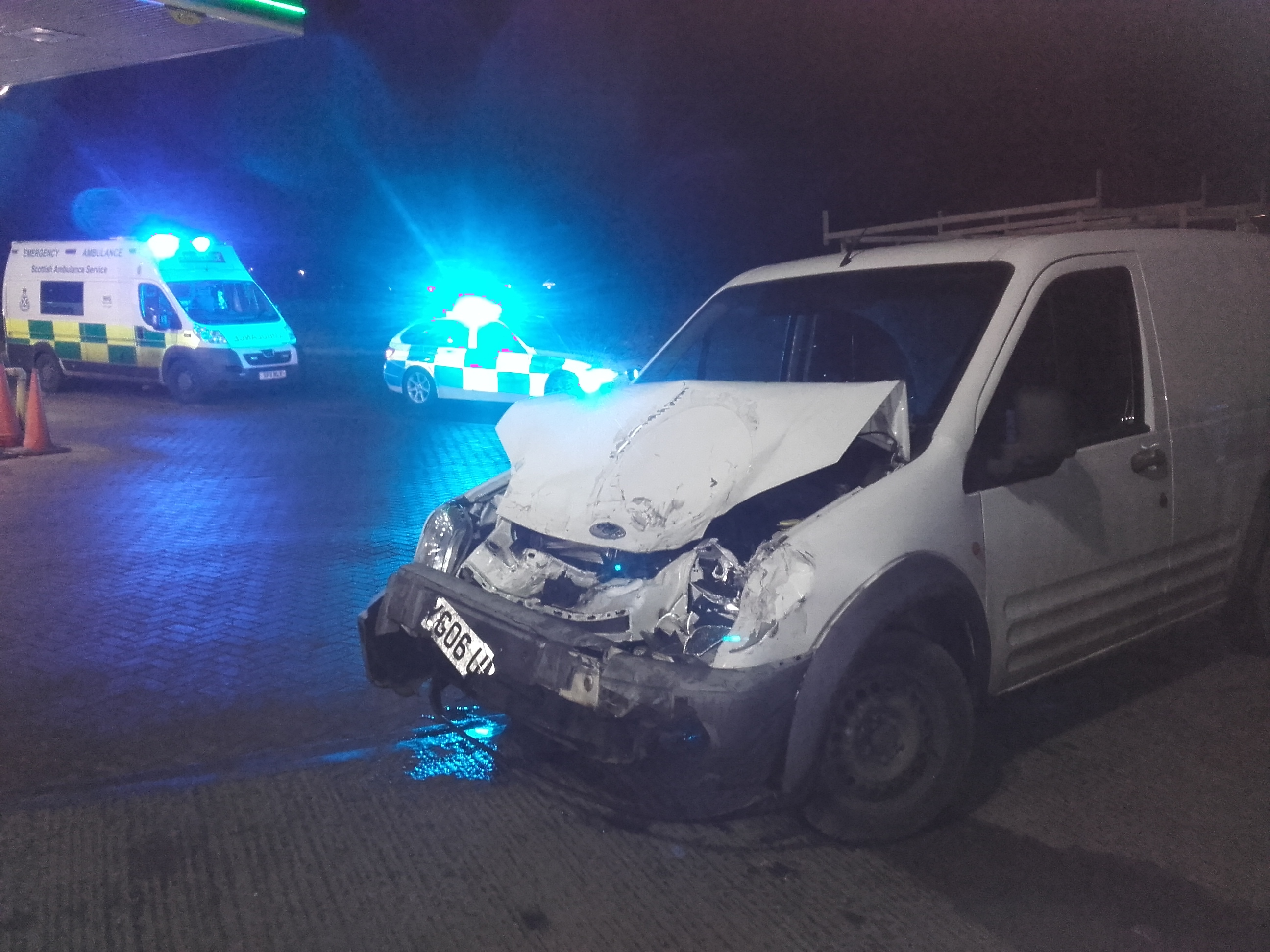 One of the vans involved in two smashes on the A92 near Freuchie