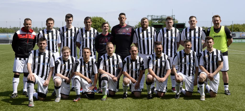 Dunfermline fans team against Falkirk, 2016. Iain Cook pictured second from the right at the back