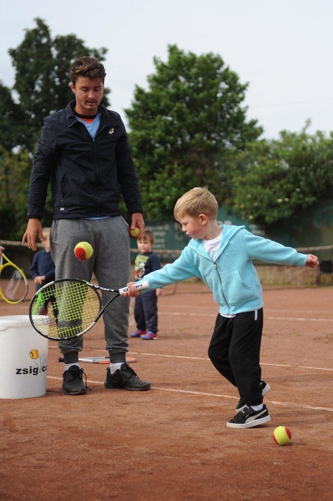 ATP Tour star Jonny O'Mara coaching Greig Black at Arbroath Tennis Club