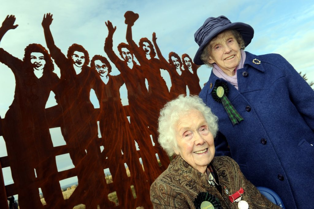 Mrs Lowe with Annie Bradford from Aberlour at the unveiling of the Land Girls Memorial at Clochan in 2012.