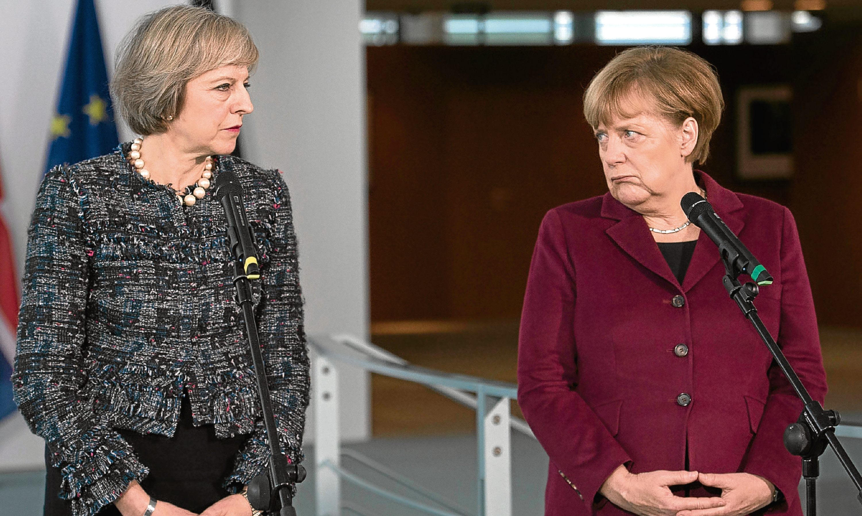 Prime Minister Theresa May, pictured with German Chancellor Angela Merkel, seems to have moved right in her European views.