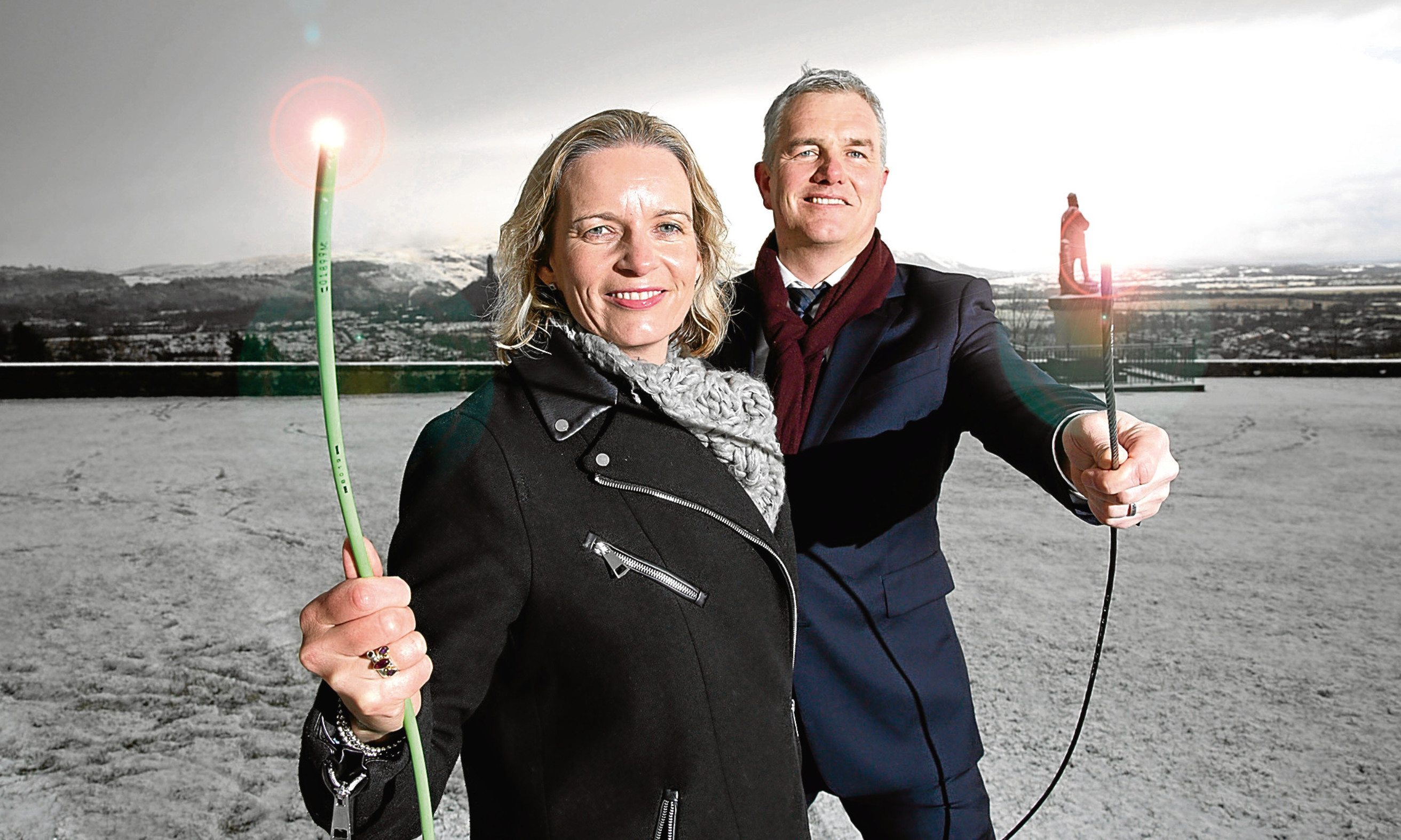 James McClafferty, CityFibre's Head of Regional Development in Scotland with Stirling Council Leader Johanna Boyd