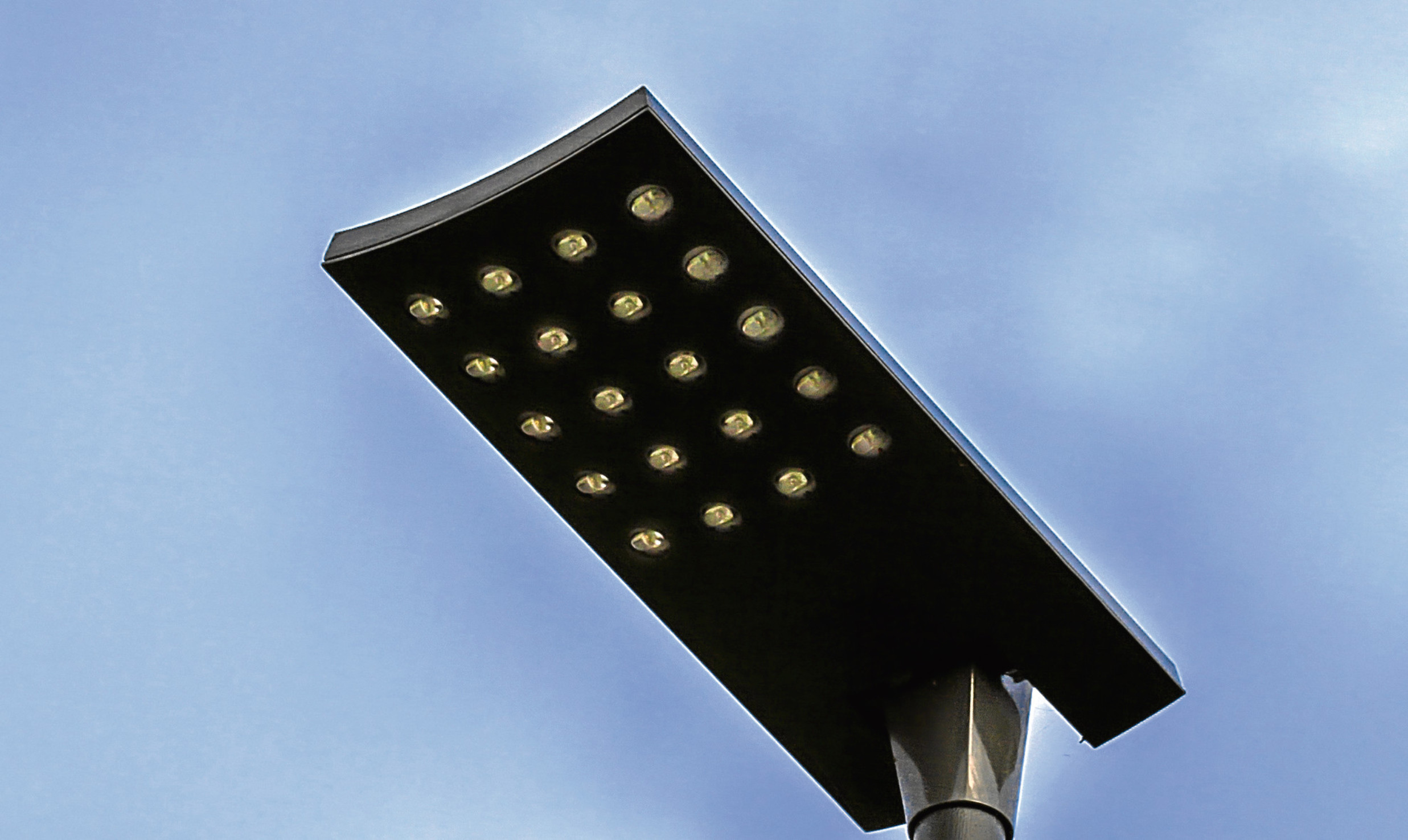One of the new-style LED street lamps.