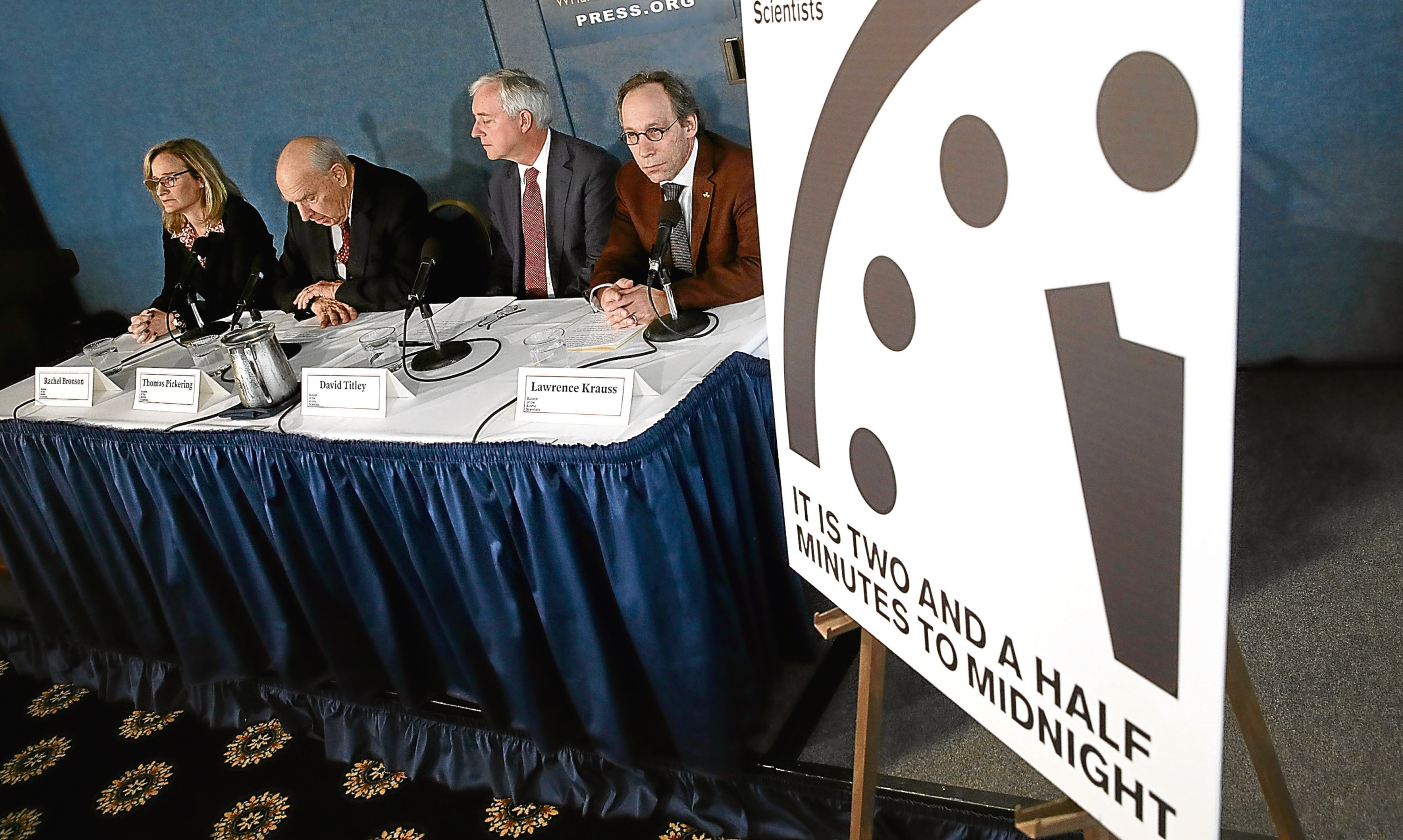 """Members of the Bulletin of Atomic Scientists moved the Doomsday Clock forward 30 seconds to two and a half minutes, citing """"ill-considered"""" statements by US President Donald Trump on nuclear weapons and climate change, developments in Russia, North Korea, India and Pakistan."""
