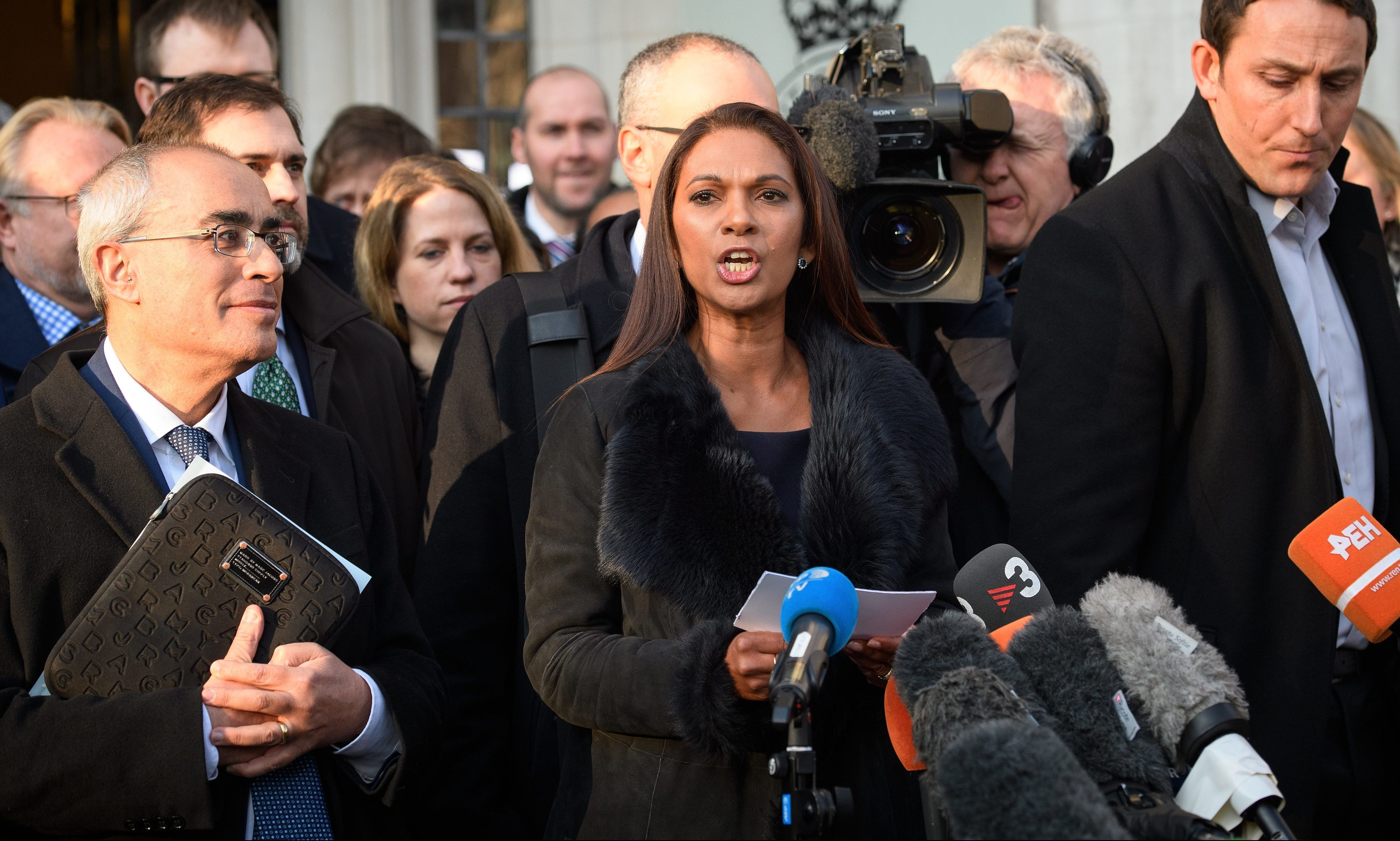 Lead claimant Gina Miller speaks outside the Supreme Court in Parliament Square following a majority ruling that the government cannot trigger Article 50 without an act of Parliament.