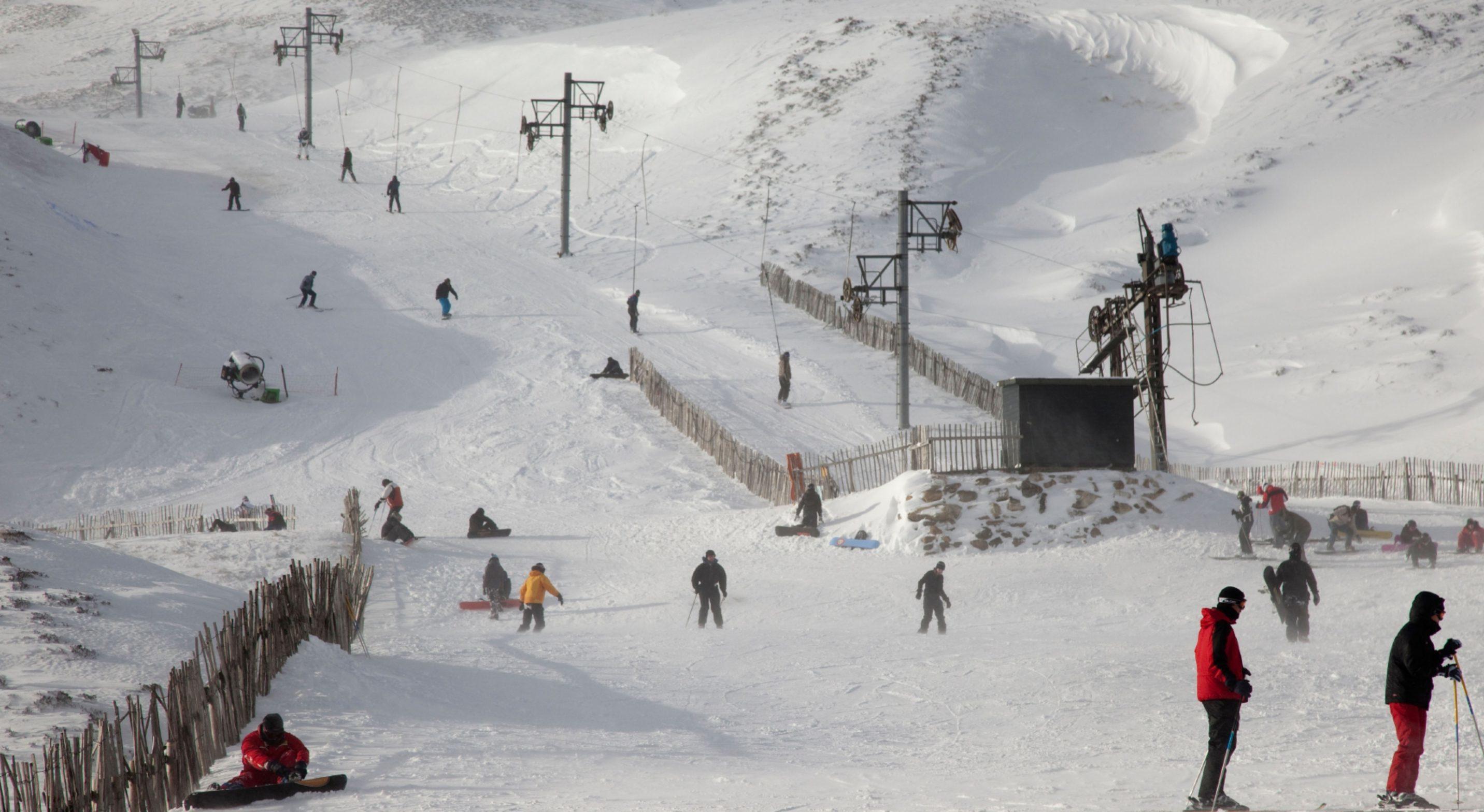 Skiers at Glenshee ski centre.