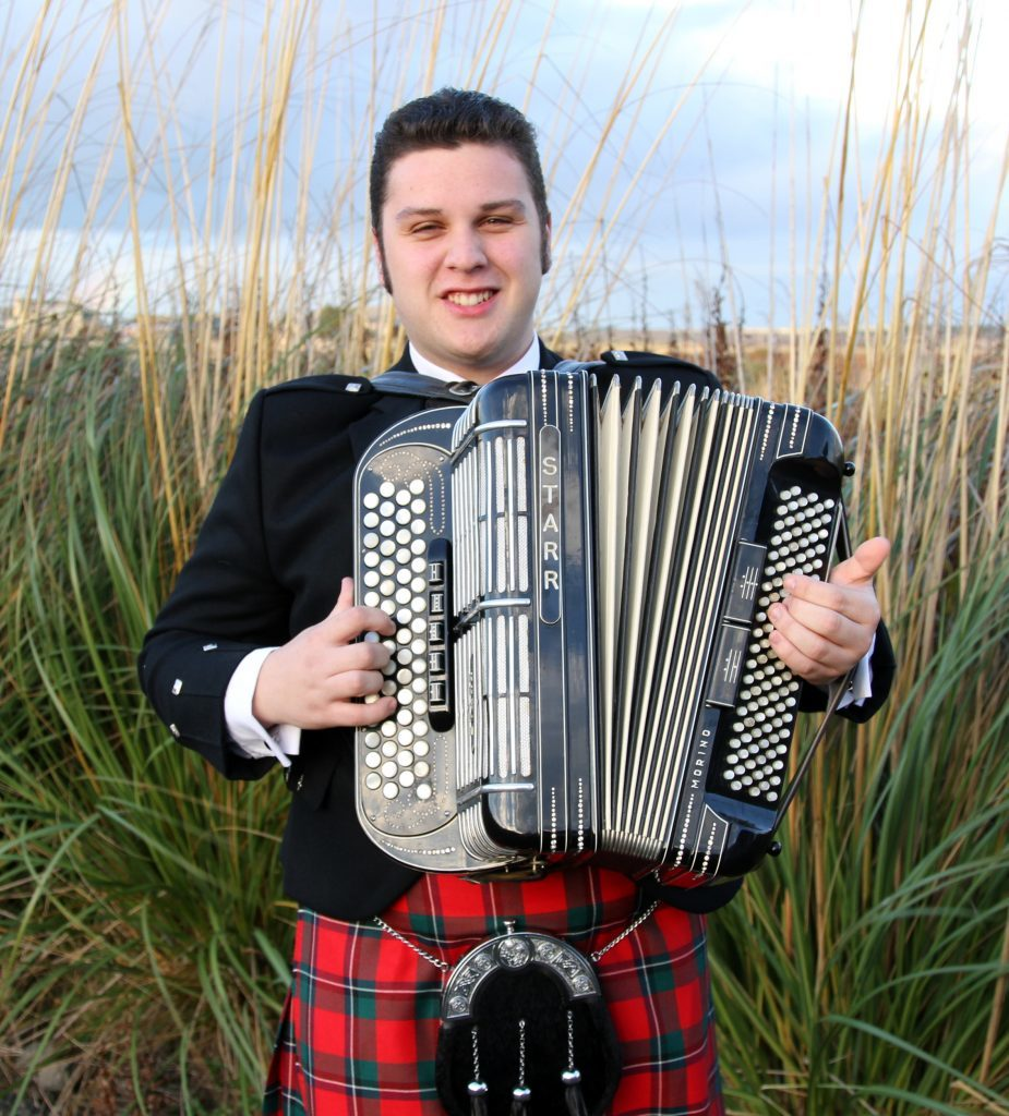 Brandon McPhee with the famous Starr button key accordion