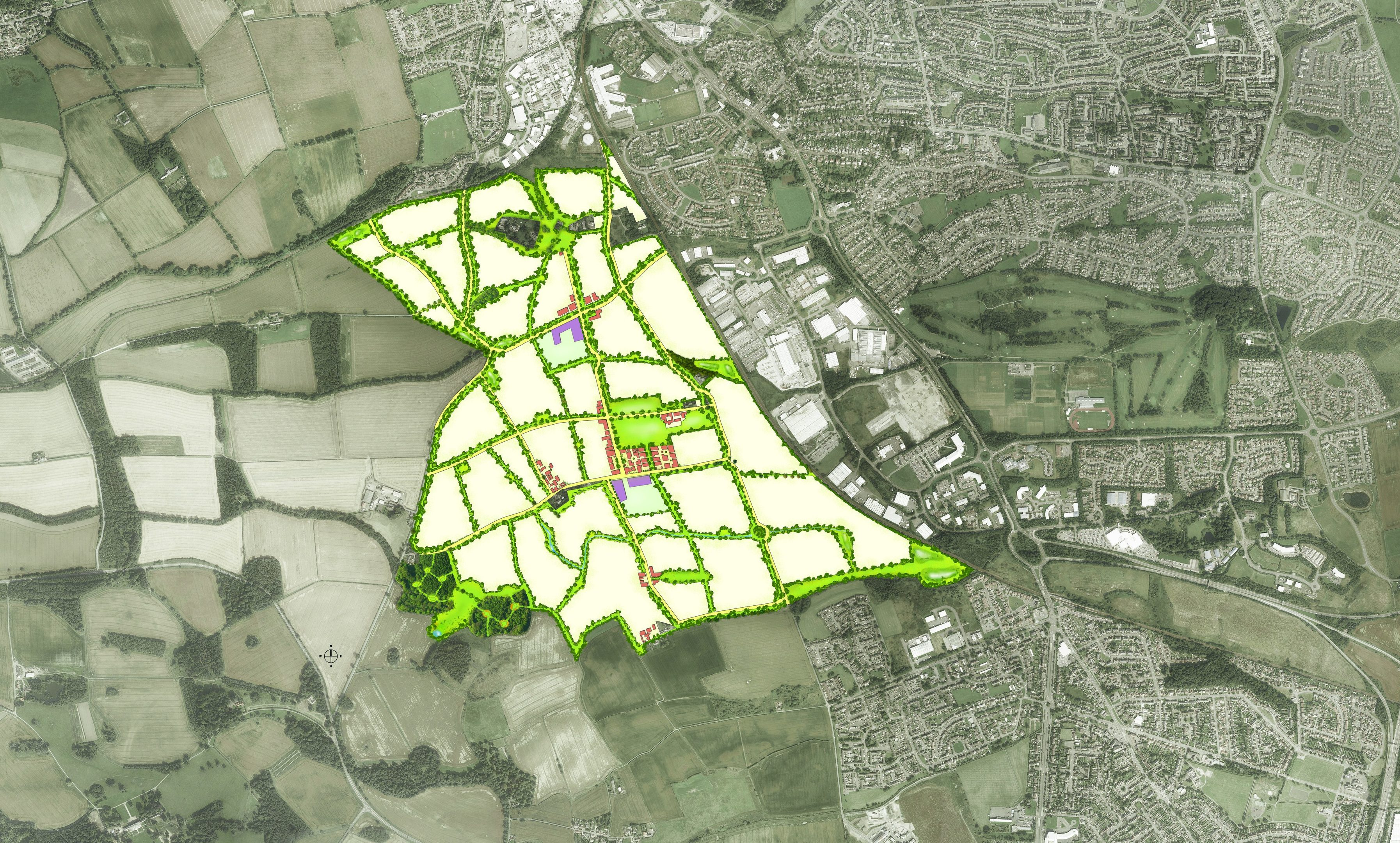 The area planned for the development.