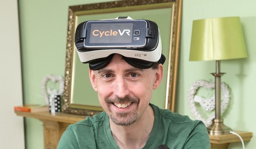 Aaron Puzey with his virtual reality headset.