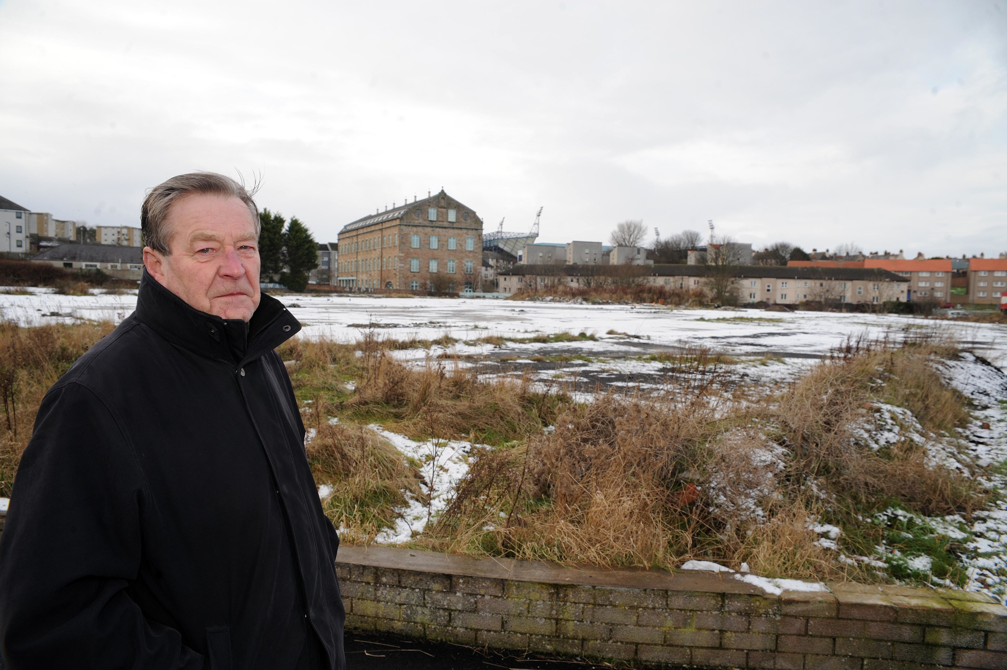 David Henderson of Kirkcaldy West Community Council at the planned Lidl site.