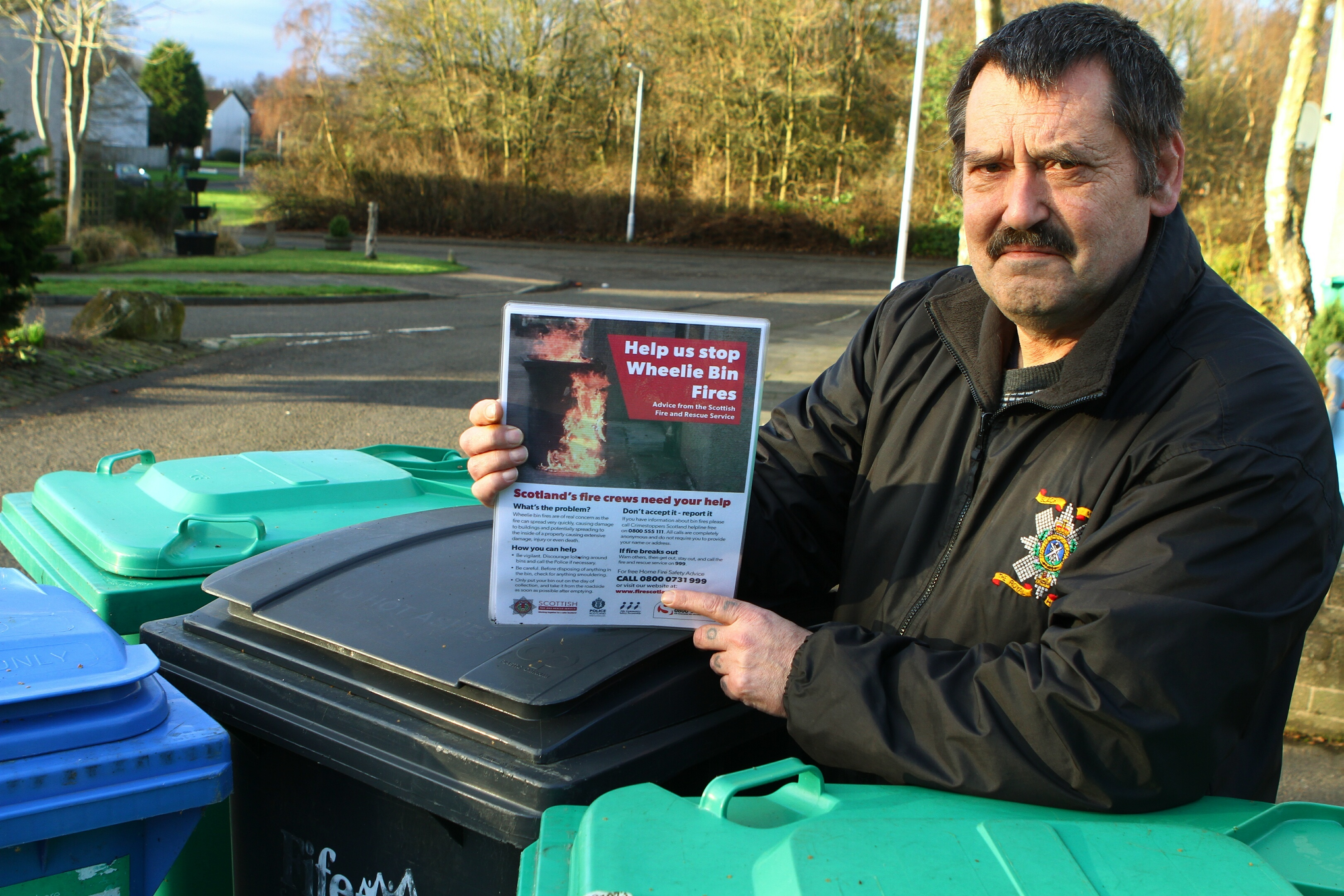 Peter Scobie, chairman of Pitteuchar, Stenton and Finglassie Community Council, is helping to publicise the wheelie bin fire warning.