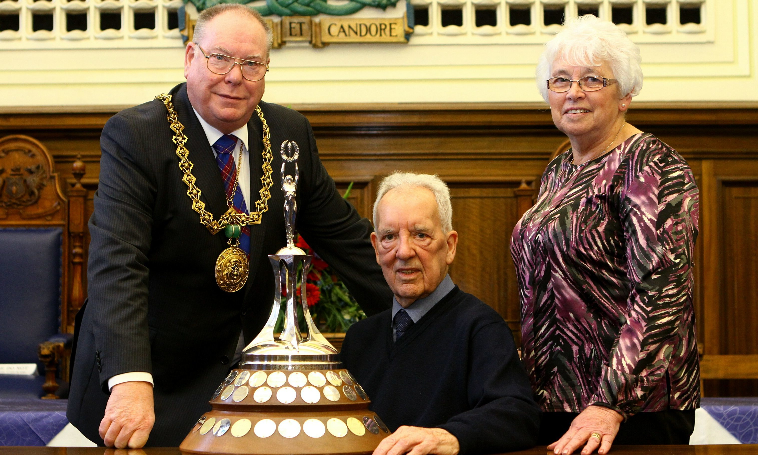 George Roberts, centre, and wife Marjory with Lord Provost Bob Duncan.